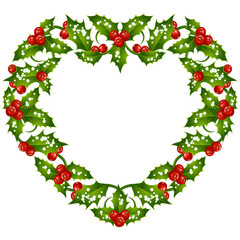 Christmas and New Year Vector holly frame in the shape of heart isolated on white background