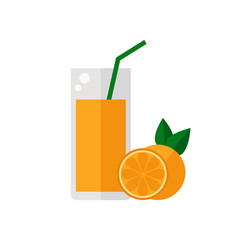 Juice icon. Orange juice isolated icon on white background. Glass of juice with tubule. Orange smoothies. Orange fruit. Fresh juice. Flat style vector illustration.