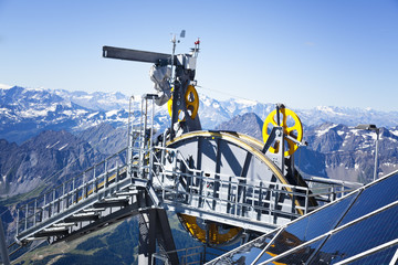 Detail of cable car gear . Courmayeur Valley