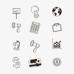 economy related icons line design image vector illustration design