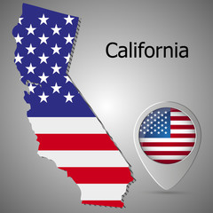 California map flag and Map pointer with American flag vector illustration