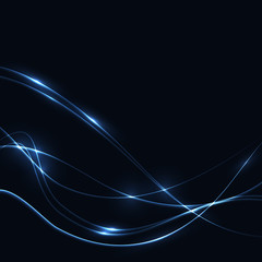 Dark background with blue laser shine neon waves