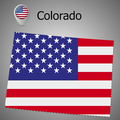 Colorado State map with US flag inside and Map pointer with American flag.