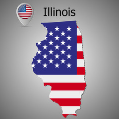 Map of the State of Illinois and American flag. Map pointer with American flag.