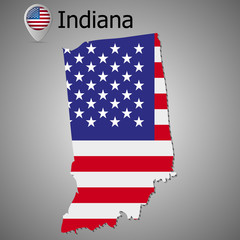 Map of the State of Indiana and American flag. Map pointer with American flag.