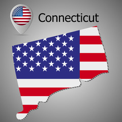 Connecticut State map with US flag inside and Map pointer with American flag.