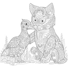 Stylized cute friends cat (young kitten) and duck (mallard) embracing each other. Freehand sketch for adult anti stress coloring book page with doodle and zentangle elements.