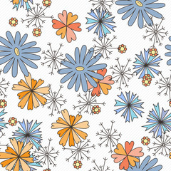 Doodle seamless pattern with various doodle flowers, leaves and branches.