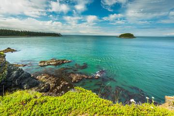Beautiful scenery of the sea coast. Deception pass headlands trail, Anacortes Island