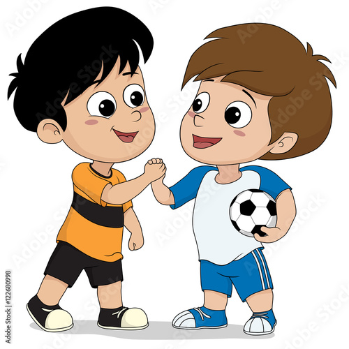 Quot Kids Shake Hand After Football Match Finish Quot Stock Image