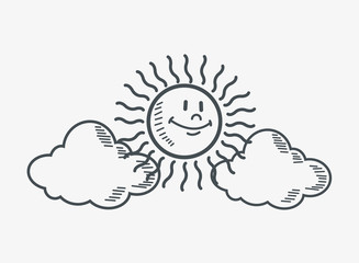 flat design sun and clouds doodle drawing image vector illustration