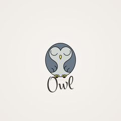 Lined owl logo or emblem. Vector illustration in line style