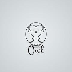 Lined owl logo or emblem. Vector illustration in line style