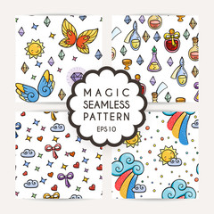 Set of simple seamless patterns with hand drawn elements.