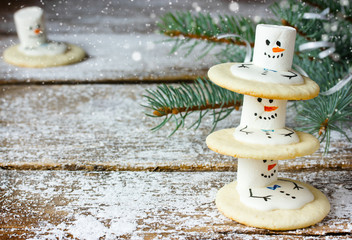 Cute Christmas cookies snowman for winter holidays
