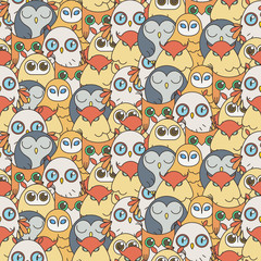 Random owls seamless pattern. Cute nignht birds. For coloring books, wrapping, printing, textile.