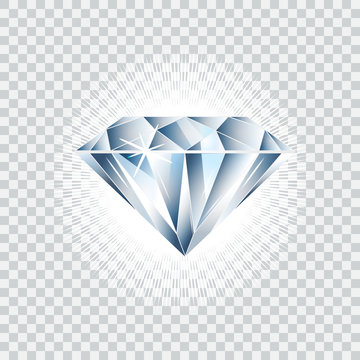 Diamond realistic vector illustration. Brilliant isolated
