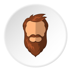 Avatar man with beard icon in cartoon style isolated on white circle background. People symbol vector illustration