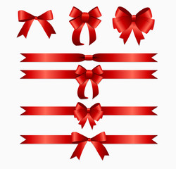 Red Ribbon and Bow Set for Birthday and Christmas Gift Box. Real
