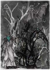 Eye tree. Halloween poster. An hand drawn vector.