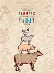 Farm shop vintage poster retro butcher shop farm animals