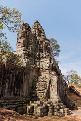 South Gate of Angkor Thom from outside the city. Angkor Wat. Siem Reap, Cambodia. UNESCO World Heritage Site.