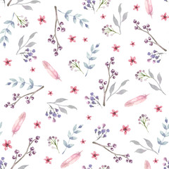 Vector seamless pattern with pink watercolor flowers and grey leaves. Floral Background design.