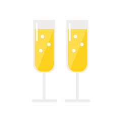 Champagne glasses isolated icon on white background. Alcohol drink. Two glasses. Flat style vector illustration.