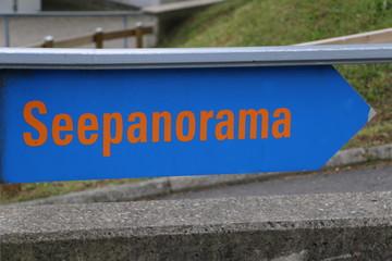 "German Sign ""Lake Panorama""; Schild mit Schriftzug ""Seepanorama"""