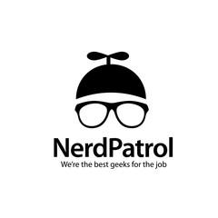 Geek Nerd propeller head and eyeglasses icon design.