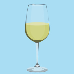glass with white wine vector illustration
