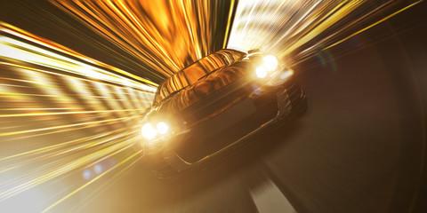 Schnelles Auto bei Nacht in einem Tunnel