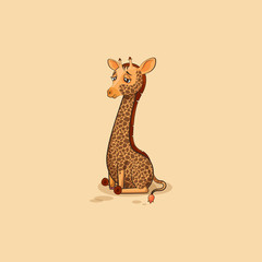 Emoji character cartoon Giraffe sad and frustrated