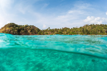 Wall Mural - Underwater shot of a sandy sea bottom and green tropical island with cloudy sky above sea surface