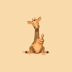 Emoji character cartoon Giraffe approves with thumb up