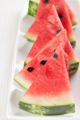 watermelon slices on the plate