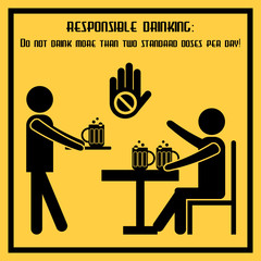 Responsible drinking - conceptual social poster about norms of alcohol use. Propaganda placard in flat design