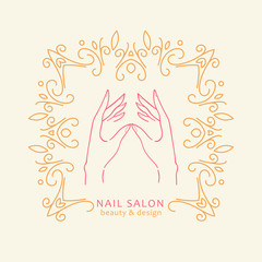 Vector floral gold frame with hands. Elegant emblem perfect for logotype design or labels of nail masters, beauty salon.
