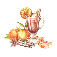 Composition with mulled wine, orange and cinnamon.Hand draw watercolor illustration