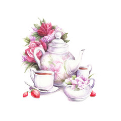Composition with teapot, flowers, cups and strawberries. Watercolor illustration.