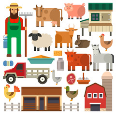 Farm icons vector set.