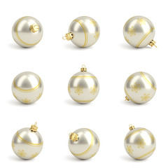 Collection of gold silver christmas balls. White isolated. 3D render