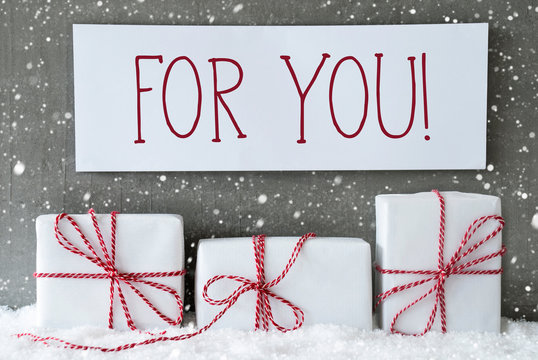 White Gift With Snowflakes, Text For You