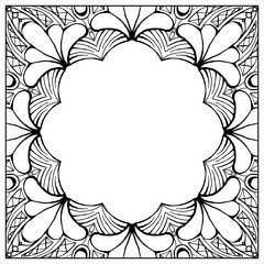 Ornamental floral frame with space for text, greeting card template or coloring book page, circle in square.