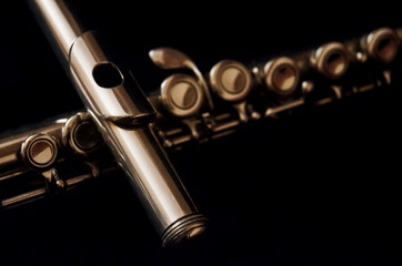 classical flute with dark background