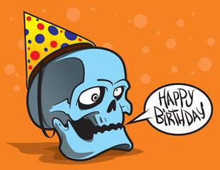Greeting card. Crazy skull. Cartoon character