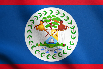 Flag of Belize waving with fabric texture