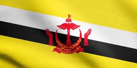 Flag of Brunei waving with fabric texture