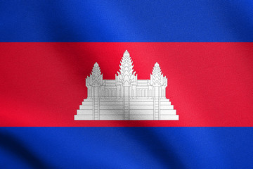 Flag of Cambodia waving with fabric texture