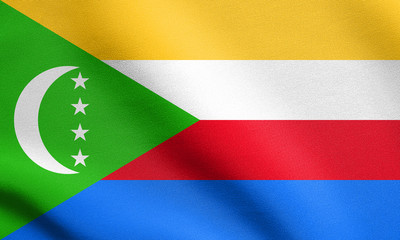 Flag of Comoros waving with fabric texture